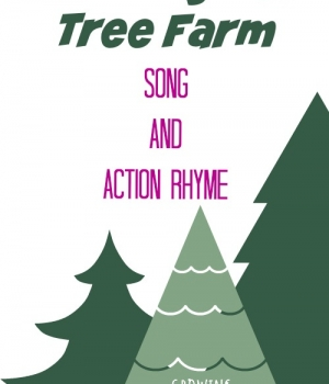 """Preschool Songs: """"Down By The Tree Farm"""" for learning about evergreens and rhyming from growingbookbybook.com"""