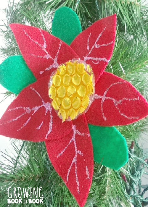 The Legend of the Poinsettia ornament and holiday book for kids from growingbookbybook.com