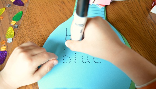 tracing letters when writing and making books