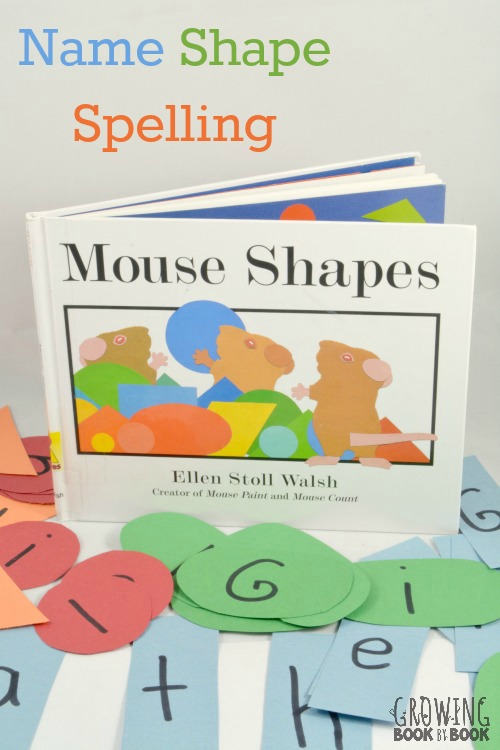 Learn to Spell Your Name with this shape activity inspired by Mouse Shapes by Ellen Stoll Walsh from growingbookbybook.com