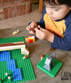 Building Lego figures of The Three Billy Goats Gruff