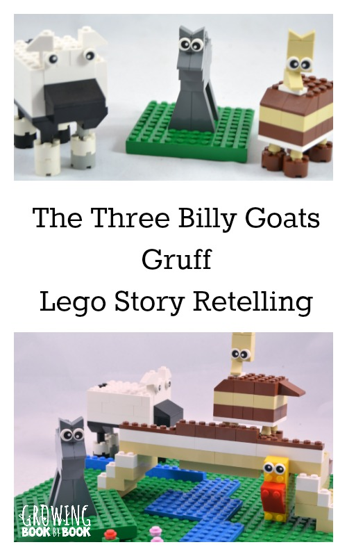 Using Lego to work on teaching story retelling using the classic The Three Billy Goats Gruff.  It's such a fun activity for kids from growingbookbybook.com