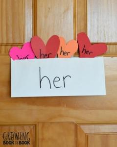 Valentine sight word activity envelopes on door