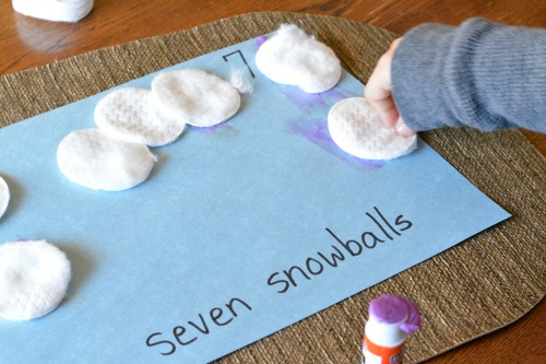 gluing snowballs into number book