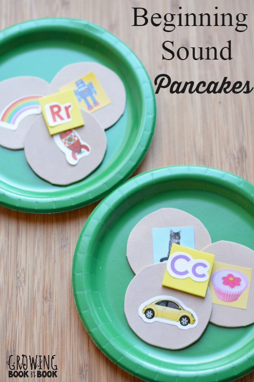 Serve a plate of beginning sound pancakes with a fun hands-on #playfulpreschool activity from growingbookbybook.com