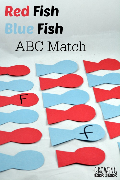 Dr. Seuss Activities: Red Fish Blue Fish ABC Match Memory Game from growingbookbybook.com