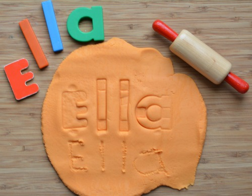learning your name playdough activity
