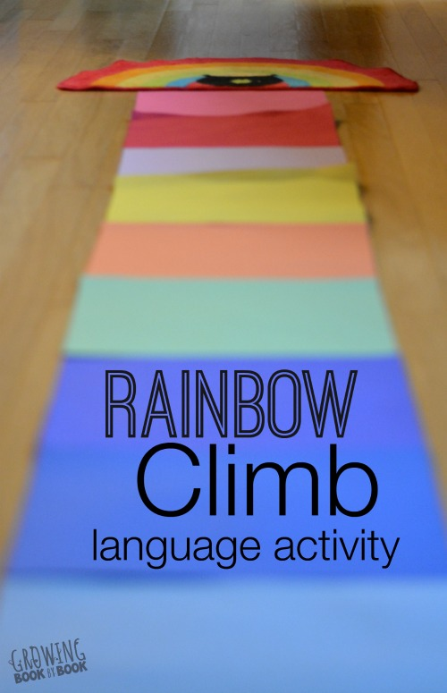 Rainbow climb is a fun language activity to help preschoolers build vocabulary.