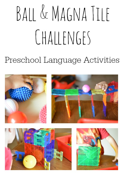 Language activities for preschoolers are fun and playful with this ball and Magna Tile activity.