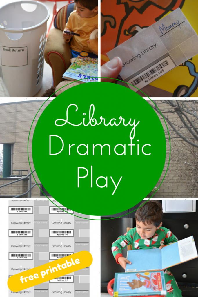 Create a library dramatic play area for preschoolers from Growing Book by Book. Includes free dramatic play printables.