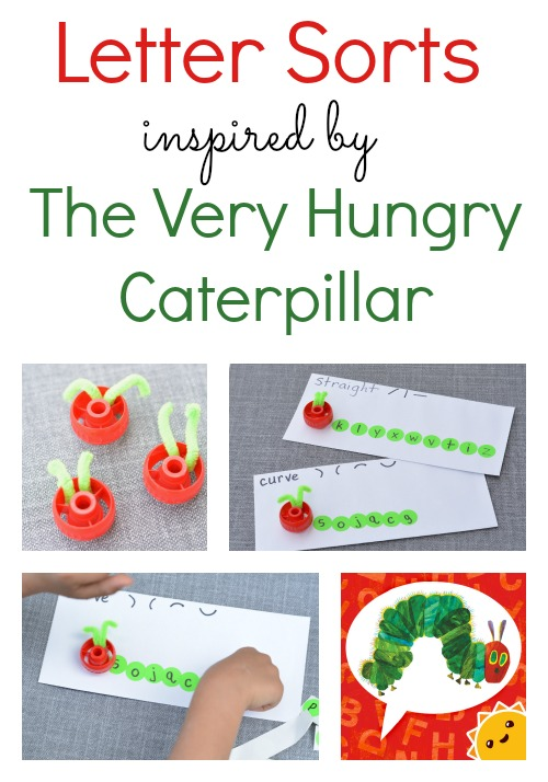 The Very Hungry Caterpillar Activities includes this fun letter sort to help kids learn visual discrimination and a fun vocabulary app!