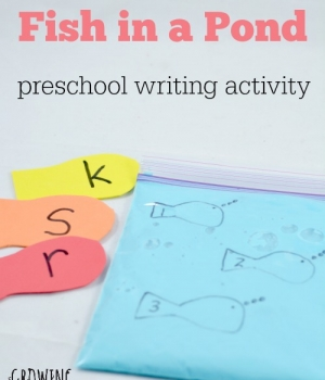 Preschool Writing Activities: Fish in an Oobleck pond is a fun and playful preschool idea!