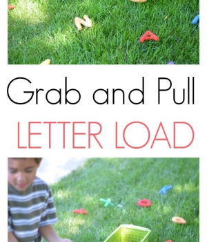 A gross motor alphabet activity perfect for outdoor learning for preschoolers and young children.