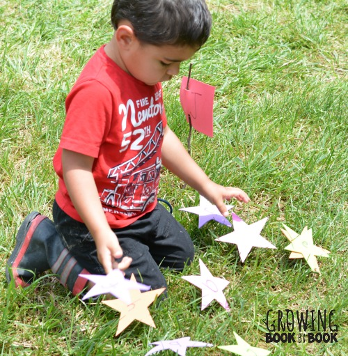 A matching stars and flag alphabet activity.