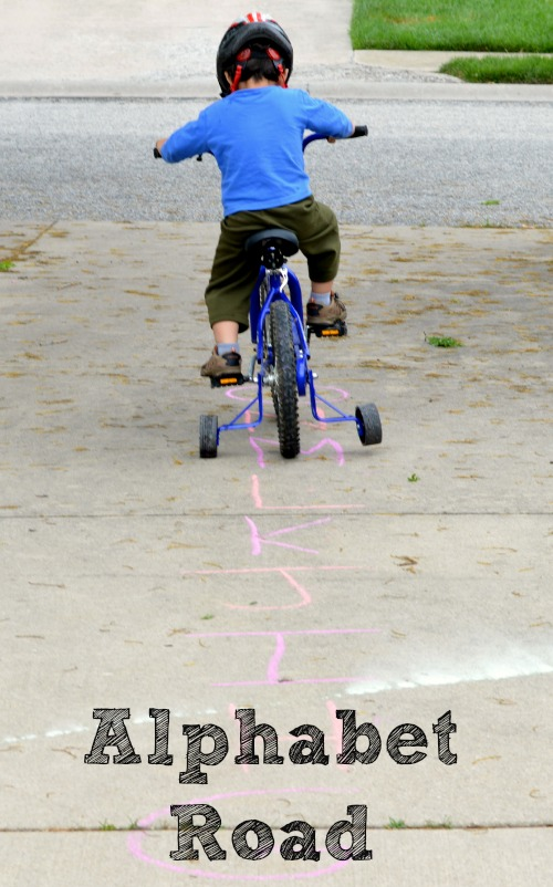 Let the kids bike down the alphabet road! A fun alphabet activity for preschoolers.