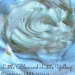 Sensory writing fun with Little Blue and Little Yellow by Leo Lionni.