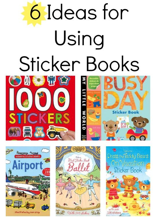 Here are six ways to build literacy skills using sticker books for kids.  Super fun literacy ideas!