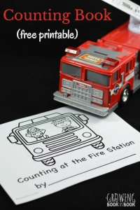 A free printable book to work on counting and writing numbers with a fire station theme. Perfect for Fire Prevention Week or any little fire truck lover.