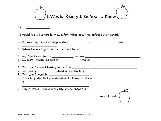 Writing Activities: Back to School Letter