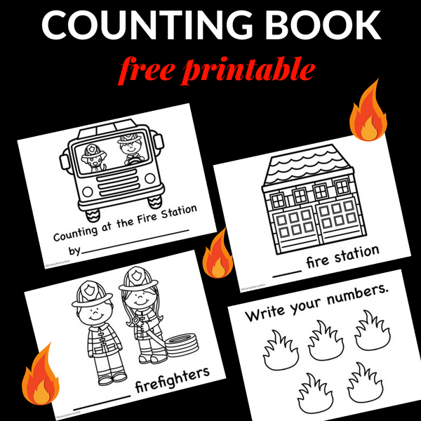 A free printable counting emergent reader book about the fire station.