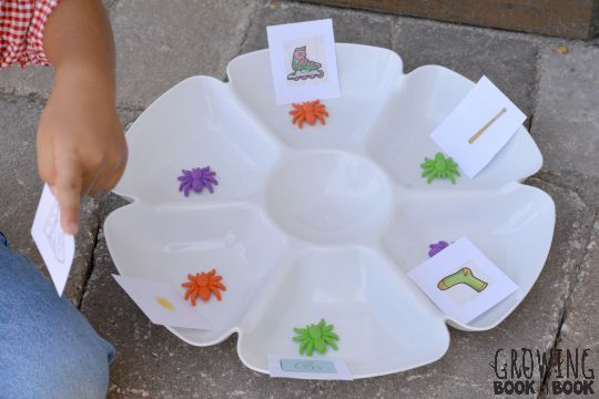 rhyming words activity for the Itsy Bitsy Spider