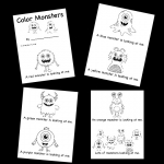 color words printable book with monster theme