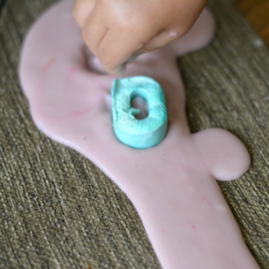 stamping with frozen letter slime