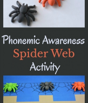 Phonemic awareness activity to work on segmenting with a spider theme twist. Includes a free printable to use for the activity.