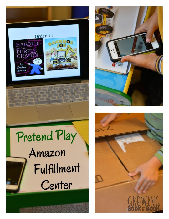 Create a pretend play Amazon Fulfillment Center is a fun way to build literacy skills through dramatic play opportunities.