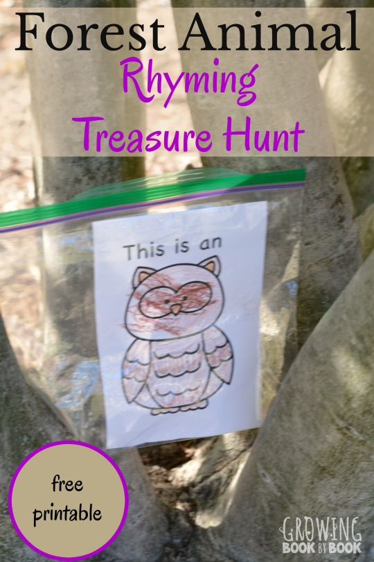 Get ready for a lively gross motor rhyming treasure hunt full of forest animals. Includes a free printable of animal cards and treasure hunt clues.