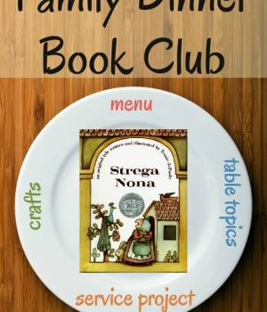 Get your themed menu, table crafts, family service project and conversation starters for the Strega Nona Family Dinner Book Club.