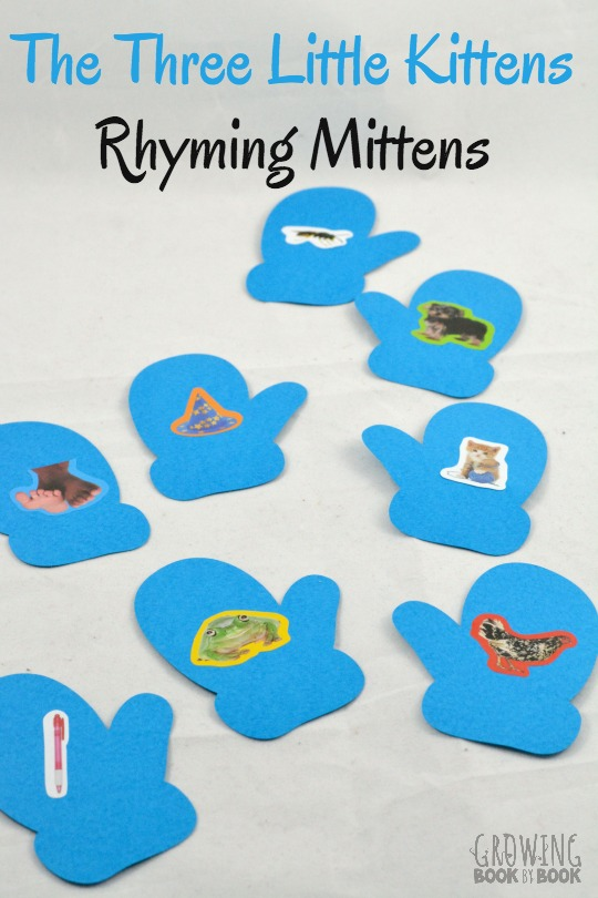 The Three Little Kittens is a fun rhyme to use to help kids build their phonological awareness. Make super easy mittens and play this rhyming game.