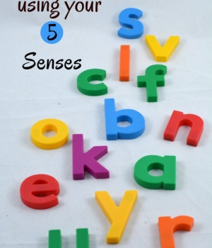 Learn the alphabet by exploring with your 5 senses. Fun hands-on alphabet activities that use magnetic letters and your sense of sight, sound, touch, smell and taste.