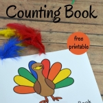printable turkey counting book for Thanksgiving