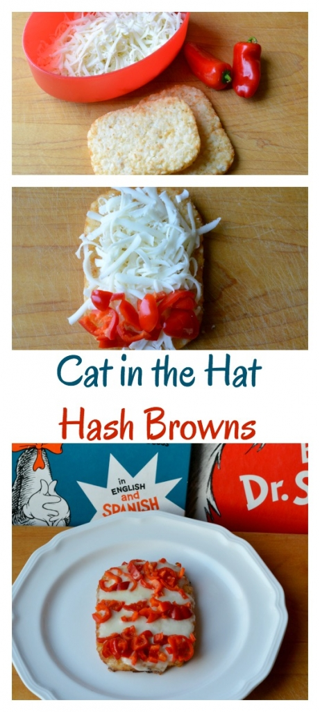 Create The Cat in the Hat Hash Browns to compliment your green eggs and ham recipe. Then do some themed Dr. Seuss literacy ideas for National Read Across America Day on March 2nd.