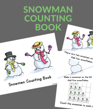 printable emergent reader about counting and snowmen