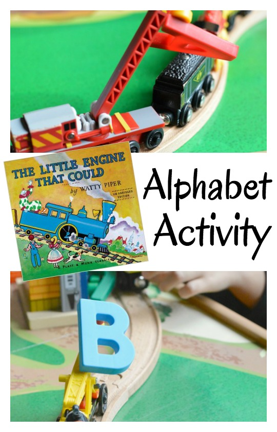 Trains met letters in this alphabet activity for kids. It pairs great with The Little Engine that Could.