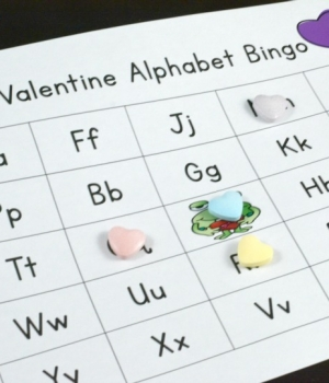 playing Valentine ABC Bingo