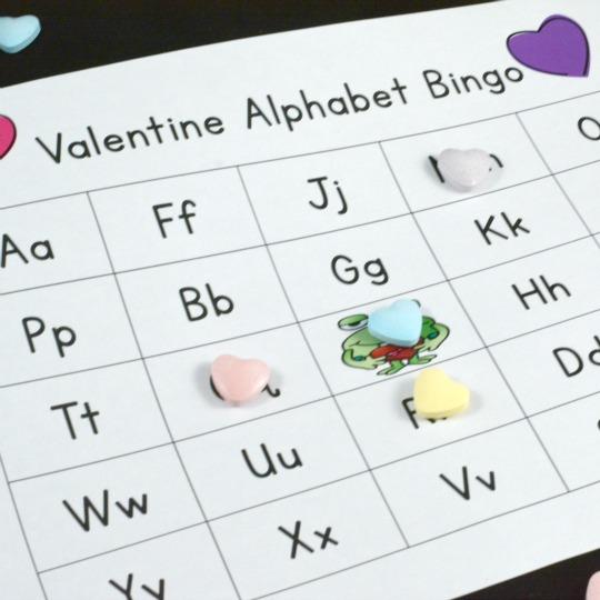 playing Valentine ABC Bingo
