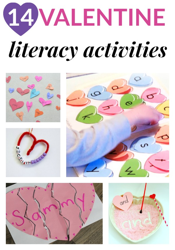 Add some educational literacy ideas into your Valentine's Day theme. Ideas include alphabet activities, sight word ideas, writing activities, book lists and more. #ValentinesDay #literacy #education #sightwords #alphabet