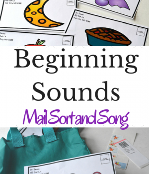 Beginning Sounds Mail Sort is a fun phonemic awareness activity and preschool song to build phonological awareness. A great early literacy activity!