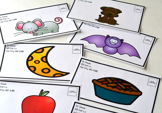 A free printable of mail envelopes for a fun beginning sounds activity