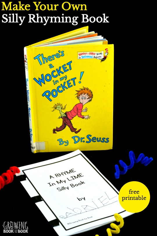 Enjoy Dr. Seuss' There's a Wocket in My Pocket and then make your own silly rhyming book with this free printable.