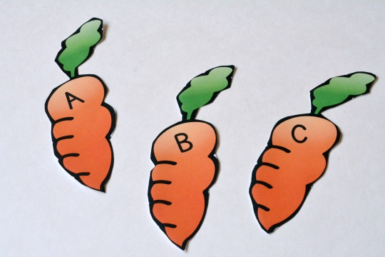 Cut the alphabet carrot letters.