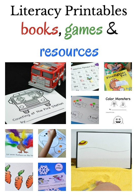 Oodles of literacy printables including interactive printable books, printable games and other literacy ideas for young and emerging readers.