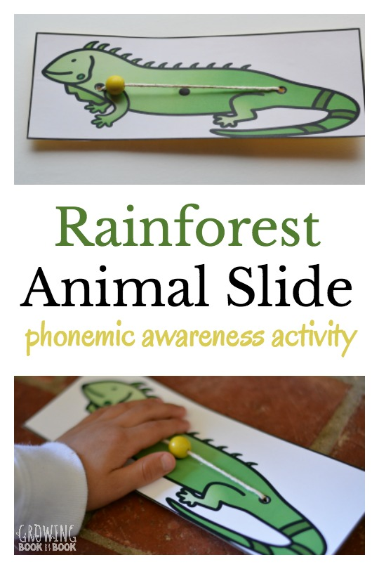 Rainforest animal slide is a playful way to build phonemic awareness. This free printable will help kids identify sounds in words. Great for helping kids get ready to read.