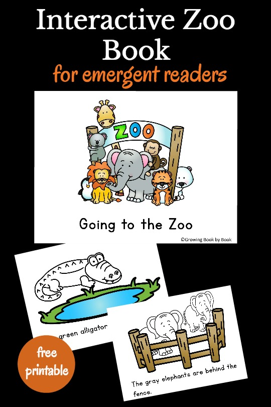 All about the zoo printable book is perfect for emergent readers. It's an interactive book that has kids coloring or counting on each page as well as reading. Best of all it's a free printable book!