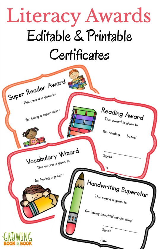 Literacy printable certificates that you can edit printable awards for reading and writing that you can edit perfect for anytime of the yadclub Choice Image