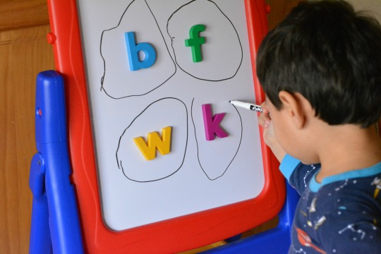 A fun magnetic letter activity to work on letter identification and sounds.