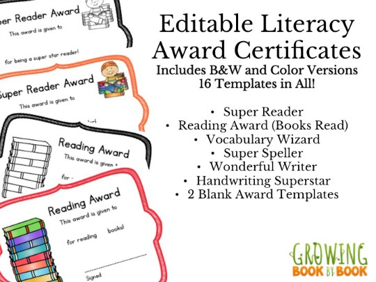 Editable Literacy Award Certificates